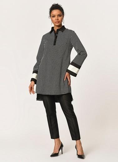 Mizalle Kolları Şerit Detaylı Tunik Gömlek Siyah